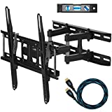 "Cheetah Mounts APDAM3B Dual Articulating Arm TV Wall Mount Bracket for 20-65"" TVs up to VESA 400 and 115lbs, Mounts to Two 16"" studs and includes a Twisted Veins 10' HDMI Cable and a 6"" 3-Axis Magnetic Bubble Level"