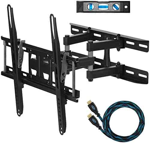 """Cheetah APDAM3B Dual Articulating Arm TV Wall Mount Bracket for 20-65"""" TVs up to VESA 400 and 115lbs, Fits Studs up to 16"""", includes a Twisted Veins 10' HDMI Cable and 6"""" 3-Axis Magnetic Bubble Level"""