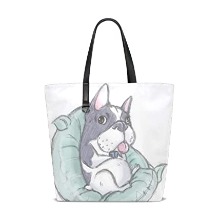 727c3051a42a Amazon.com  Women Large Tote Bag French Bulldog Leather Shoulder ...