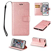 iPhone 6 Cute Elephant Pattern Case,[Stand Feature] [2 Card Slots] [Money Pocket] Synthetic Leather 4.7inch iPhone 6 Wallet Case with Screen Protector And Stylus Pen (Pink)