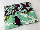 Tea Bag Wallet Case Organizer - Joel Dewberry Aviary 2 Sparrows in Plum