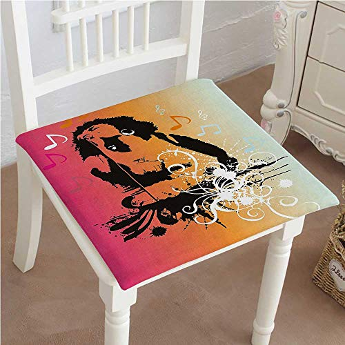 Indoor/Outdoor All Weather Chair Pads Abstract Backdrop with Image of Musicians Notes and Swirl Light Pink Peach and Seat Cushions Garden Patio Home Chair Cushions 18