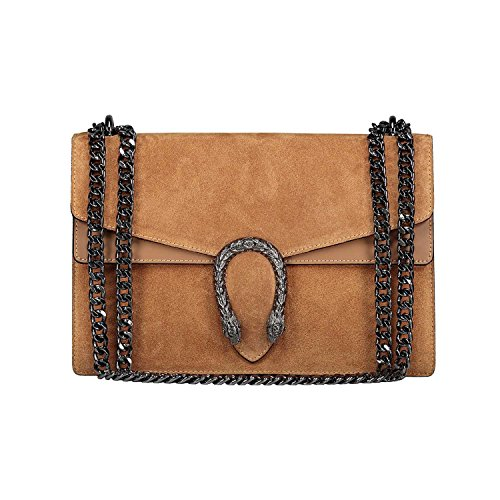 Italian genuine body evening purse bag bag cross chain flap RACHEL leather suede Camel designer FxaCwRdxq