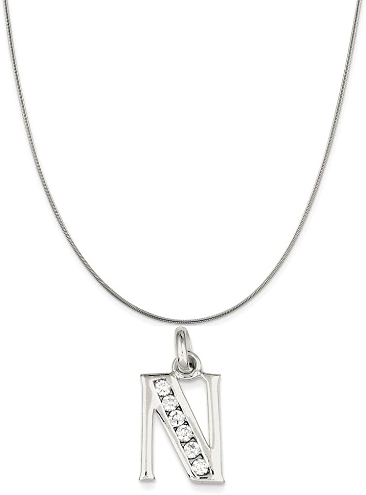 Snake or Ball Chain Necklace Sterling Silver White Synthetic CZ Initial N Pendant on a Sterling Silver Cable