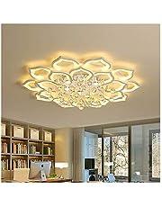 Hzdmfgs Taklampa moderna LED-taklampor för vardagsrum vit K9 kristall hem sovrumslampa med fjärrkontroll dimbar lyster (avgivande färg: dimbar, lampskärmfärg: Vit)