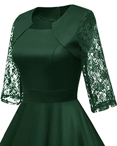 Line Party Retro A Green Homrain Women's Sleeves Swing b Long 1950s Vintage Cocktail Dress qvXExfwUnR
