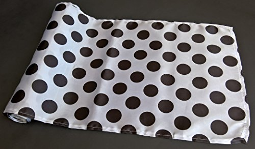 Polka Dot Table Runner Satin 14 x 108 Inches Black and White