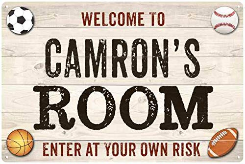 Chico Creek Signs CAMRON'S Room Kids Bedroom Sign Sports Personalized 8x12 Metal 208120090354