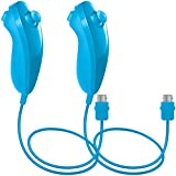 AFUNTA Nunchuck Controllers Compatible Nintendo Wii U, 2 Packs Replacement Compatible WII U Video Game - Light Blue