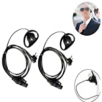 Lsgoodcare 2PACK D Earphone Earpiece Headset Mic for Motorola Radio Security 2 Pin Walkie Talkie
