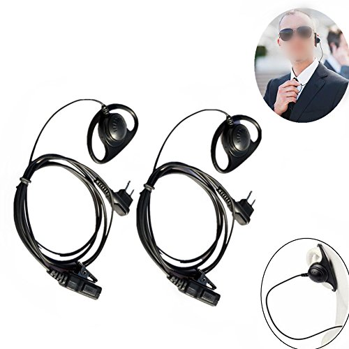 Ear Headset The Motorola Over (Lsgoodcare 2 Pin Earpiece and mic, D Shape Ear Hook Headset Earphone PTT Compatible for Motorola Two Way Radio CP100 CLS1410 CLS1110 GP2000 Security Walkie Talkie, Pack of 2)