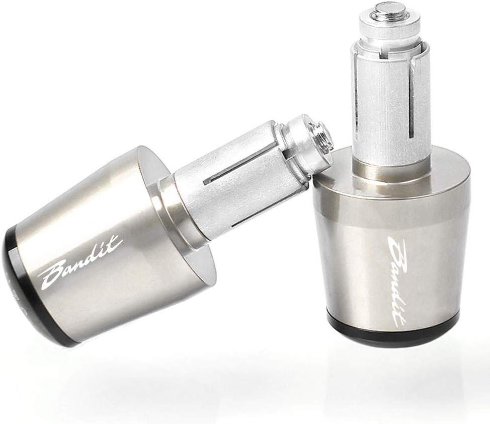 7//8 22mm Moto Extr/émit/és du Guidon en Aluminium Poign/ée de Guidon Embouts pour Suzuki GSF 250 600 600S 650 650S 650N 1200 1250 Bandit 650S Argent