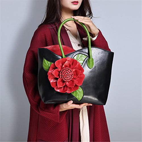 Leather Ladies Classic Handbag Flower Bag Shoulder Handle 3D Top Women's Tote Green Style Green Bag Bags 0qCAwW8x
