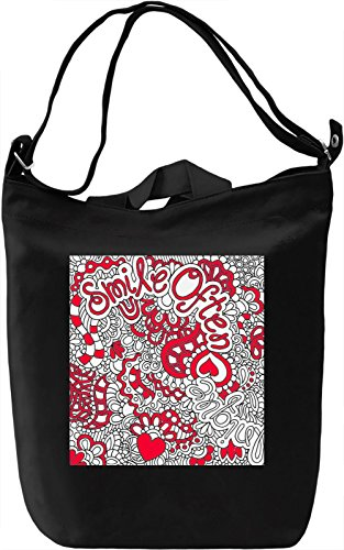 Smile Often Red Print Borsa Giornaliera Canvas Canvas Day Bag| 100% Premium Cotton Canvas| DTG Printing|