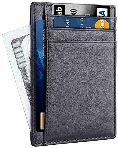 ist Slim Wallet Genuine Leather Medium Size (Black) (Chain Front Leather)