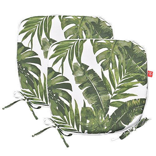 PacifiCasual Indoor/Outdoor Chair Pads Seat Garden Home Patio Chair Cushions (Green Leaves)