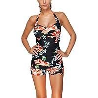 Urban Virgin Monokinis elegante estilo retro, fruncido, de una pieza, con culote, trajes de baño para mujer