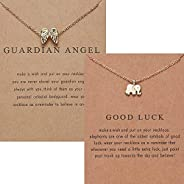 MEQUER Guardian Angel Elephant Necklace, 2PCS Gold Good Luck BFF Chain Necklace for Women, Best Gifts for Mom,