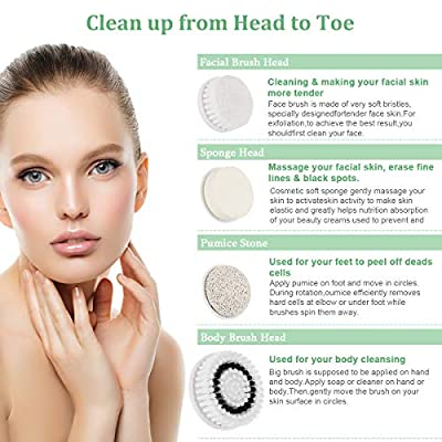 Facial Cleansing Brush - IPX7 Face Brush with 4 Brush Heads, Waterproof Face & Body Scrubber for Deep Cleansing, Electric Face Exfoliator Skin Care Massage - Gentle Exfoliating