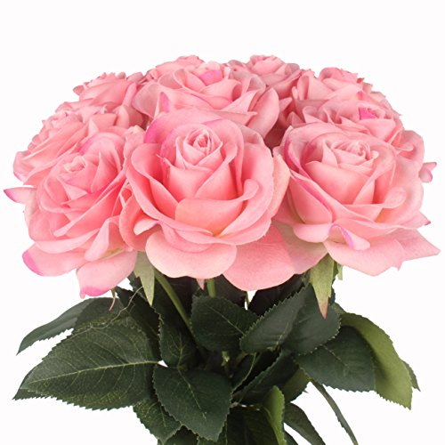 - JAROWN 10 pcs Artificial Flowers Real Touch Roses Moisturizing Bouquets for Home Wedding Decoration (Deep Pink)