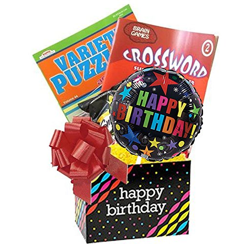 Birthday Gift for Men and Women with Puzzle Books and Popcorn comes Wrapped and Ready to Give by Gifts Fulfilled