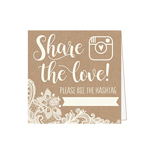 25 Kraft Lace Wedding Hashtag Signs, Rustic Vintage