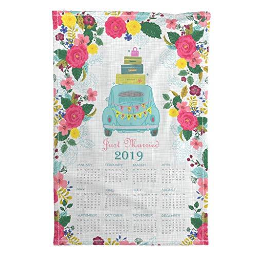 Roostery 2019 Tea Towel Calendar Vintage2018 by Honoluludesign Special Edition Linen Cotton Tea Towel
