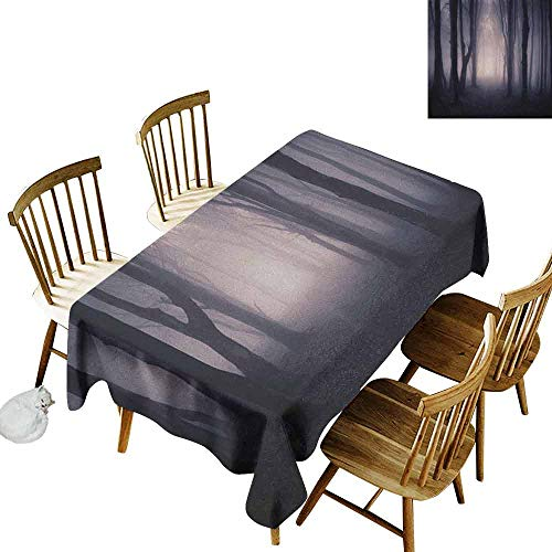 DONEECKL Forest Colorful Tablecloth Protection Table Path Through Dark Deep in Forest with Fog Halloween Creepy Twisted Branches Picture Pink Brown W60 xL102 -