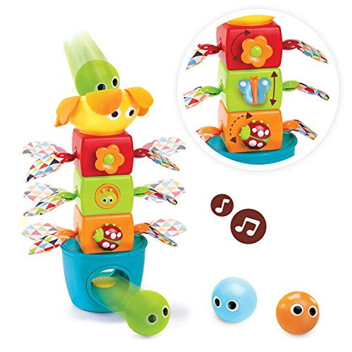 Yookidoo Baby Stacking Toy - Squeak 'N Stack, Stack Flap 'N' Tumble Set - Includes 5 Stacking Blocks Make Different Fun Sounds, Color Recognition Shape Toys, Educational Baby Toys For Boys and Girls by Yookidoo