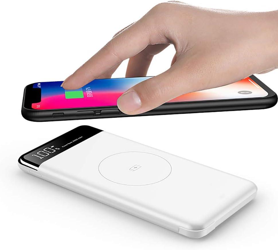 小米科技MI9 / iPhoneのスリムPOWERBANK外部バッテリー用チーワイヤレス充電器10000Mahパワーバンクバッテリー高速ワイヤレスはPOWERBANK充電,白