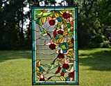 20'' x 34'' Large Tiffany Style stained glass window panel Hummingbirds & Flowers