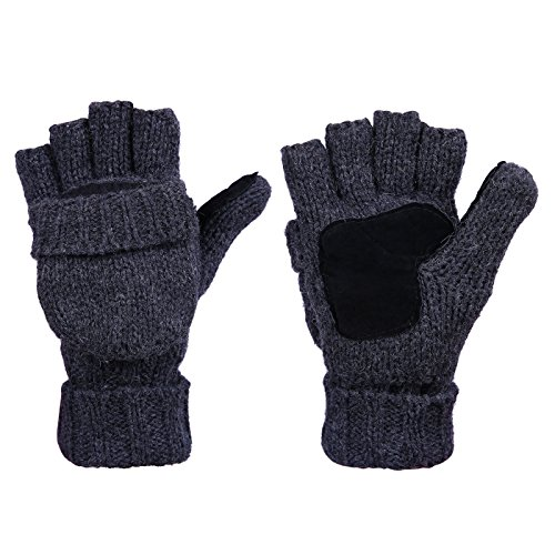 HDE Winter Mittens Knit Fingerless Fliptop Thermal Fleece Gloves w/ Suede Grips