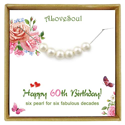 60th Birthday Necklace - 6 Pearls for 6 Decades