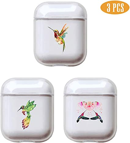 Wings fuinhi Clear Hard Plastic Case Full Protective Cover Skin Compatible with AirPods 2 /& 1