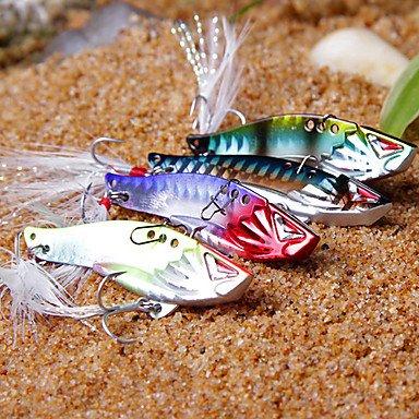 WWQY 1 pcs Hard Bait / Metal Bait / Vibration/VIB / Fishing Lures Metal Bait / Vibration/VIB / Hard Bait Purple / Silver / Blue / Random Colors , 10g