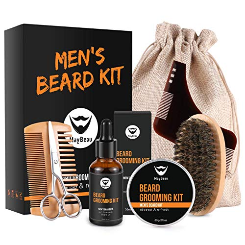 MayBeau Beard Kit for Men 7 in 1 Beard Growth Grooming & Trimming with Beard Shaper, 2oz Beard Balm, 1oz Beard Oil, Beard Brush, Comb, Scissors, Beard Shaper and A Cool Burlap Bag
