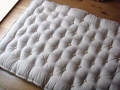 Handmade 100% Wool-filled Shikibuton / Twin, Single, Full or Queen Size /100% Pure New Wool Filling / OEKO-TEX Certified Materials / Non - Toxic Bedding / Custom Sizes & Shapes & Fabrics (Twin Tufted Organic Wool)