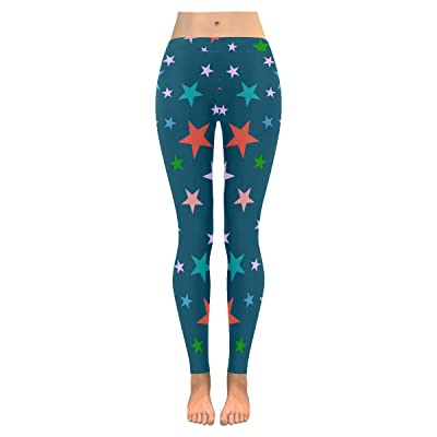 InterestPrint Womens Low Rise pattern Star print on outdoor yoga Leggings plus size:XXS-5XL
