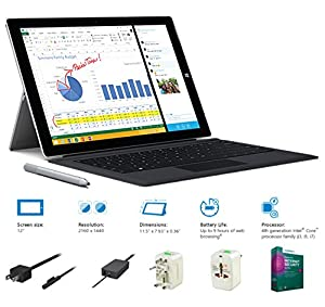 "2014 Newest Microsoft Surface Pro 3 Core i3-4020Y 4G 64GB 12"" touch screen with 2160x1440 Half 4K (2K) QHD Windows 8.1 Pro Multi-position Kickstand by Fyx"