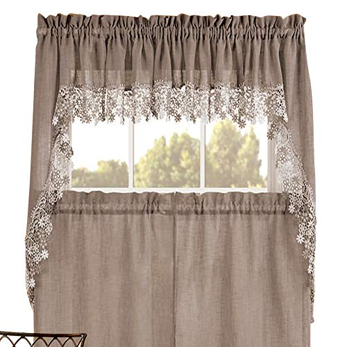 Renaissance Home Fashion Lillian Swag Pair with Macrame Band, 56