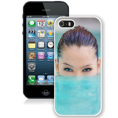 Coque,Fashion Coque iphone 5S Blue Eyed Girl Pool Underwater blanc Screen Cover Case Cover Fashion and Hot Sale Design