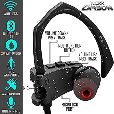 TRAKK Carbon Wireless In-ear Waterproof Bluetooth Headphones - IPX7 Waterproof & Sweat-proof, Bluetooth 4.1, Lightweight, Built-in Mic, Track & Call Control, 12 Hours Play & Call Time.
