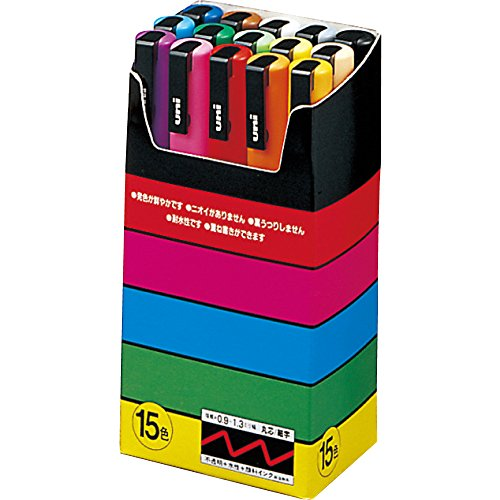 Uni-Posca Paint Marker Pen - Fine Point - Set of 15 1-pack, red,blue,yellow