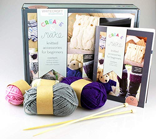 Whitecroft Knitted Accessories for Beginners Create & Make Set - Includes Book Full of Craft Projects