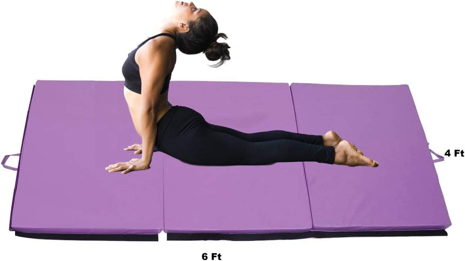 Core Workouts, ProSource Bi-Fold Folding Thick Exercise Mat 182cm x 60cm with Carrying Handles for MMA Gymnastics Stretching Choose you color 6x2