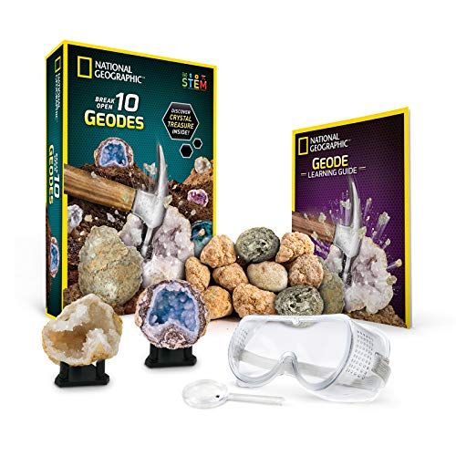 National Geographic Break Open 10 Premium Geodes - Includes Goggles, Detailed Learning Guide & 2 Display Stands - Great Stem Science Gift for Mineralogy & Geology Enthusiasts of Any Age]()