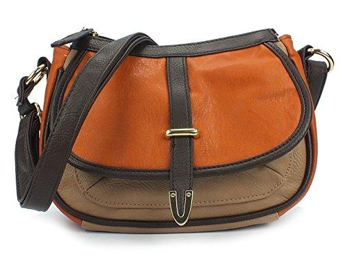 CURUBA 10121 Damen Handtasche, Umhängetasche, Bicolour-Look, 3 Farben: pumpkin orange comb, curry gelb comb oder navy blau comb orange
