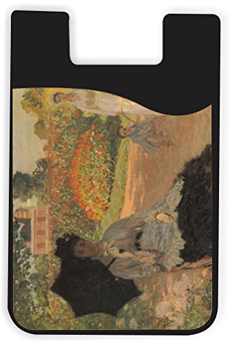 Rikki Knight Claude Monet Art Camille in The Garden with Jean Design Silicone Phone Card Holder Wallet for iPhone/Galaxy All Android Smartphones - with Removable Soft Microfiber Screen Cleaner