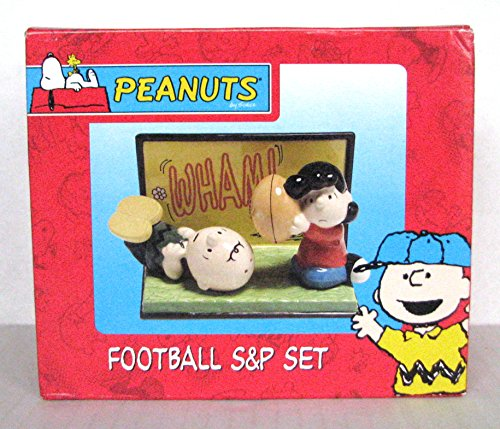 Peanut Football Salt and Pepper Shakers Set - Featuring Charlie Brown and Lucy ()