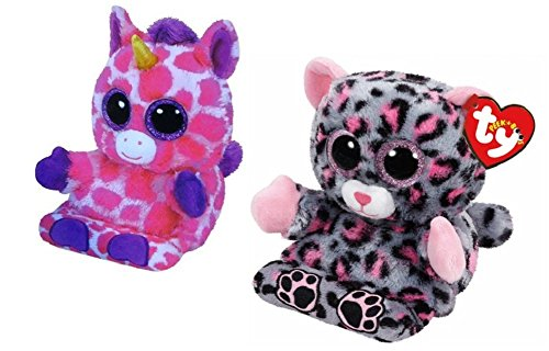 [Ty Peek A Boo Phone Holder Screen Cleaner Uni Unicorn and Trixie Leopard Plush Toys] (Captain America First Avenger Halloween Costume)